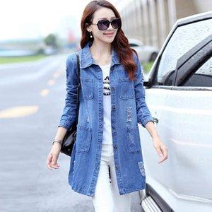 Осень 2020 Мода Женщины Trench Плюс Размер S-6XL длинный хлопок Denim Желоб с длинным рукавом Повседневная одежда HF502