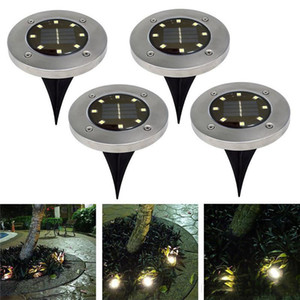 Солнечный свет Наземные Открытый сад Тропинка Водонепроницаемый вкапываемый Драйвуэй газонные Walkway Прожекторы 8 светодиодов диска Свет