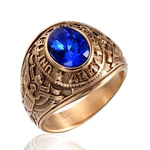 Oficial de aço inoxidável do vintage dos estados unidos anel do exército dos eua retro ouro militar eua jóias anéis vermelho preto azul verde pedra cz