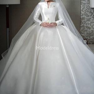 Elegante Muslim Brautkleider mit langen Ärmeln Bateau A-Line-Fleck-Schleife-Zug-Kirche Brautkleider Garden Chic Plus Size Vestidoe De Noiva