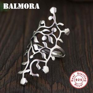 Balmora solido argento 925 cave Leaf Anelli per regalo delle donne etnica Thai Silver Ring Moda monili freddi Anelli SY21895