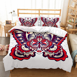 Butterfly 3d sugar skull Bedding Set Queen Size duvet Cover set King Bed Set Drop Shipping