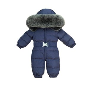 New Russia Winter Boy And Girls Clothes,90% Duck Down Kids Jumpsuits Hooded Fur Thicken Fashion Navy Snowsuits Infant Jacket