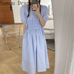 2020 New Summer Korean Style Candy Color Maxi Dress Party Dresses Vestidos Vinatge Solid Elegant Women Long Dress