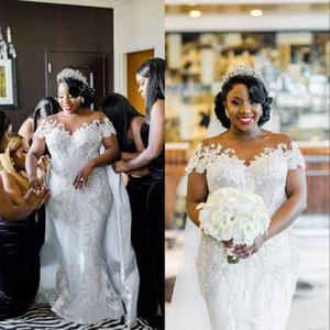 بالاضافة الى حجم الرباط الفاخرة 2020 العربية فساتين زفاف الأكمام كاب اللؤلؤ الديكور فستان الزفاف مثير رائع أثواب الزفاف