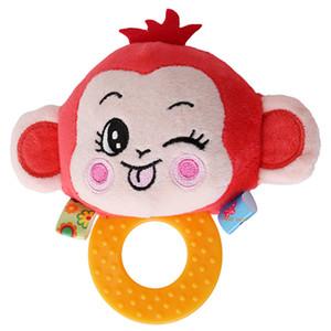 Happy Monkey baby BB звуки погремушки, держащей прорезыватель, погремушки, детские колокольчики 0-1, плюшевые игрушки, погремушки для животных.