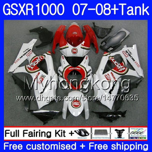7Подарки + бак для SUZUKI GSXR-1000 K7 GSX-R1000 GSXR 1000 07 08 301HM.17 GSXR1000 07 08 Кузов Lucky Strike Red GSX R1000 2007 2008