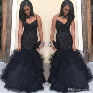 2020 Charming New Sexy Black Spaghetti Straps Beading Prom Dresses Mermaid Sleeveless Sequined Tulle Evening Dresses Party Wear Floor Length