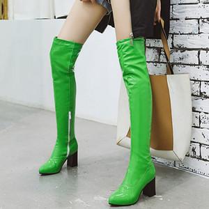 كاندي موضة اللون على مدى الركبة ساحة المرأة أحذية الكعوب براءات الاختراع والجلود النساء أحذية عالية أبيض أحمر أصفر أخضر الأحذية النسائية