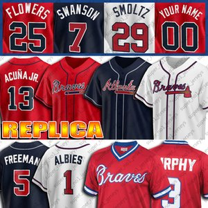 Personalizzato 13 Ronald Acuna Jr. Jersey 1 Ozzie Albies maglie 5 Freddie Freeman 3 Dale Murphy 7 Dansby Swanson 11 Ender Inciarte Jersey di baseball