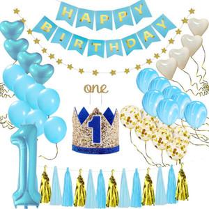 38pcs / set Ein Jahr alt Baby-Geburtstags-Party-Ballon-Set Rosa Aluminium Latex-Geburtstags-Party-Dekorationen für Kinder Baby Shower Supplies