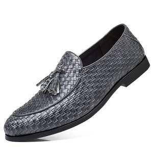 38~48 Large Tassel Braided Loafers Men Striped Plaid Slip On Dress Shoes Man Fringed Flat Loafer Italian Men Formal Leather Shoe