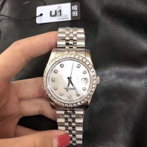 Горячая распродажа U1 завод 36 мм унисекс мужские часы автоматический механический сапфир алмаз из нержавеющей стали леди часы мужские женские наручные часы
