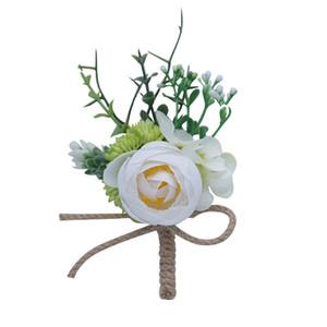 2019 Rosas artificiales Blanco Rosa Ramilletes de boda y Boutonniere Novio Ramillete de flores Matrimonio Prom Broche