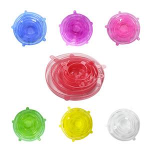 6pcs / set Net Snowflake Silikon Stretch Lids Universal-Lids Frische Lagerung Stretch Abdeckungen für Fruit Cup-Schüssel-Teller zu halten