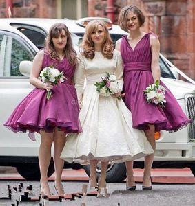 2020 Sexy V-neck short Bridesmaid Dresses Wedding Guest Dress Knee Length Vintage Short Beach Chiffon Wedding Party Gowns