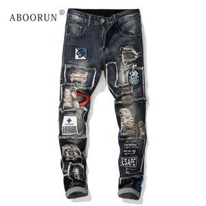 ABOORUN erkek Sıska Punk Kot Sıkıntılı Emboridery Kot Erkek Marka Kalem Streetwear x2142