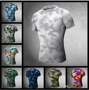 Chasse Camouflage T-shirt serré hommes Vêtements de sport Compression Armée Tactical Combat Shirt Camo Compression Fitness Men Outdoor Sp