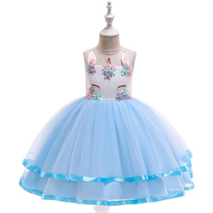 Kids Children Pageant Evening Gowns Flower Girl Dresses Sleeveless Ball Gowns Wedding Party Birthday Dress