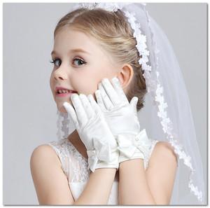 niñas de las flores guantes de dedos de bodas de los niños del vestido de los niños accesorios flor del bordado de cuentas de arcos golves mitones fiesta de los niños J2894