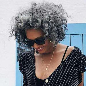 Afro Puff Kordelzug Pferdeschwanz für schwarze Frauen, Afro-Brötchen Pferdeschwanz Silber Graues Haar, Salz und Messy Grau Afro verworren Curly Hair Extensions