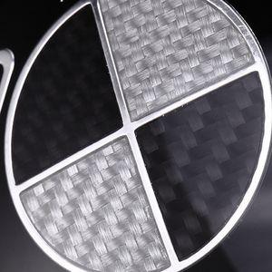 Roue en fibre de carbone 3D Haute qualité Noir Blanc Car Hub Cap Emblem arrière avant direction de roue Badges 45mm 68mm 73mm 82mm ForBMW
