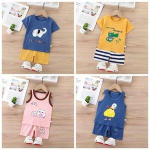 2020 Summer New Children's Vest + Shorts Two-piece Sets Cotton Kids Boy Girl Short Sleeve T-shirt + Pants Set 6 Months - 4 Years