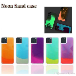 Luxus Neon Sand Mobile Case für das neue iPhone 11 pro max xs max Luminous Flüssiges Glitter Quicksand-Fall für Huawei P20 P30 lite
