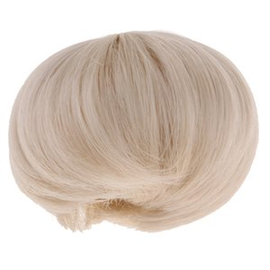 Wigs Only, 5-6inch 13-15cm Short Straight Hair BJD Wig for 1 8 Lati Girl Doll - Beige
