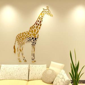 Girafa acrílico 3d adesivos de parede para sala de crianças sala de estar espelho girafa adesivo de parede quarto abstrato diy art decoração da parede