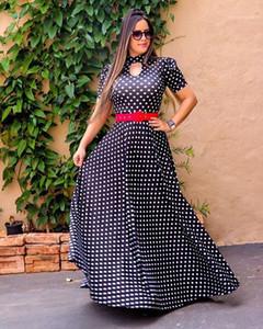 Vestidos para mujer ocasional de la manera de las nuevas señoras vestido maxi con cuello redondo de manga corta para mujer de vestido grande del oscilación Imprimir