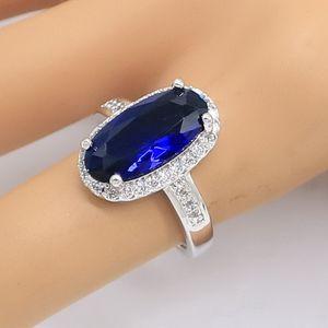 Azul Oval Semi-preciosas Anel Cor Prata para Mulheres da festa de aniversário de jóias presente de aniversário