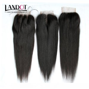 8A Brazilian Straight Lace Closure 4x4 Size Cheap Human Hair Top Lace Closures Pieces Free Middle 3 Way Part Closure Natural Color Dyeable