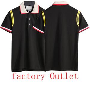 camisa pólo de luxo verão hip-hop V-neck abelha bordados estilo clássico camisa pólo dos homens do algodão dos homens Bermudas
