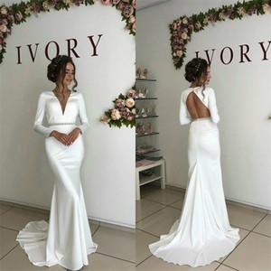 Cheap русалка свадебные платья сексуальные v-образным вырезом без спинки ruched сатинированное sash boho bridal платье с длинными рукавами разведка поезда на заказ одежда де-Марие