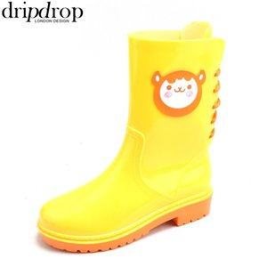 DRIPDROP Women Rain Boots Waterproof Rainboots Ladies Matte Boots CartoonDecorative Lace-Up