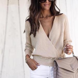 Pulls manches longues lambrissé mode des femmes d'affaires Vêtements Printemps V Neck Femmes Solid Color