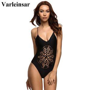 Varleinsar Negro ganchillo tanga una sola pieza traje de baño femenino del traje de baño de las mujeres ahueca hacia fuera el desgaste de baño traje de baño de Monokini V13 sin respaldo