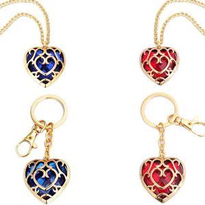 Zelda-Herz-Kristall Halskette Mode Frau Karikatur-Liebes-Schlüsselanhänger Dame Anime Film Schmuck-Party-Geschenk TTA-1042