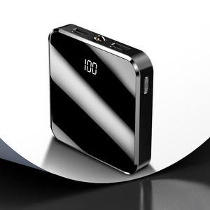 Super Slim Power Bank 20000mAh Espelho LED Power Bank rápido carregamento externo Bateria universal todos os móveis