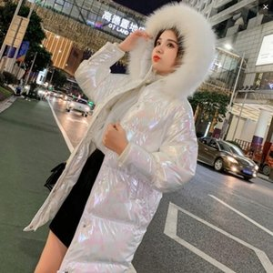 Women winter warm soft duck down Plush hood long Soft cotton coat Fashion street shooting OL outdoor student girl cute down jacket
