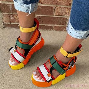 2020 Platform Sandals Women Summer High Quality Thick heeled Sandals Blue Orange Color Rome Casual beach Shoes Plus Size 35-43