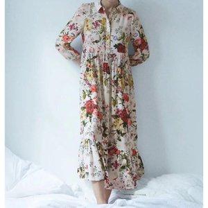 2020 new summer women dress loose vintage stylish flower printed full sleeve maxi dress elegant casual vestidos femme robe