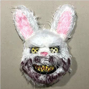 Cos Halloween Scary Cool Rabbit Mask Party Mask Costume Bloody Rabbit Animal Make-up Party With A Penknife 03