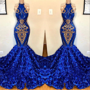 Royal Blue Mermaid Prom Dresses 2019 floreale pannello esterno del partito di promenade del Halter Appliqued merletto Splendido 3D degli abiti di sera per il nero ragazze BC1213