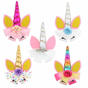 Corno di unicorno per bambini Barrettes Simulazione di colore Flower Bow Carino Tornante Principessa del bambino Accessori per capelli Flash M073