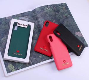 Урожай Vegan кожа задней стороны обложки Love Heart печати кобура телефон Shell Печатный Письмо для iPhone 11 Pro XS Max XR 7 8 Plus