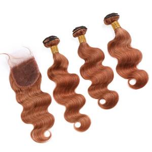 """Перуанский Объемная волна Auburn Цвет 3Bundles человеческих волос с закрытием # 30 Medium Auburn Virgin Hair Lace Закрытие 4x4"""" с Weave Связки"""