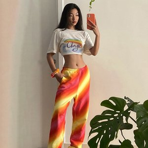 Spring Summer Womens Sweatpants Rainbow Stripe Fashion Women Designer Pants Drawstring Hip Hop Pants Dancing Jogger Pants