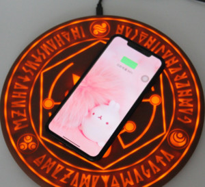 Hot Sale Fashionable And Attractive 10W Standard Glowing Magic Array Wireless Mobile Phone Charger Charging Pad Unique design